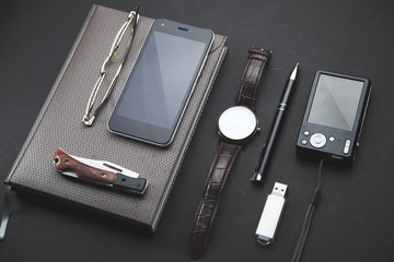 man accessories on table
