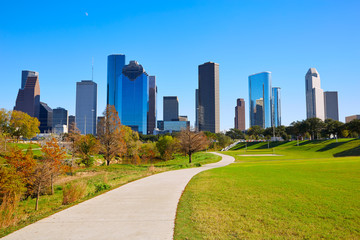 Wall Mural - Houston skyline in sunny day from park grass