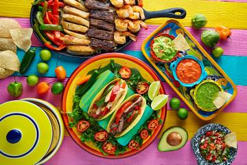 Mexican chicken and beef fajitas tacos