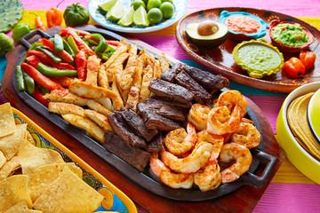 Mexican combo beef chicken fajitas shrimp