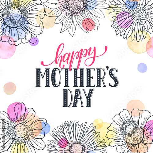"""Creative Floral Flyer Of Happy Mothers Day Template For: """"Mother's Day Greeting Card Template. Happy Mothers Day"""
