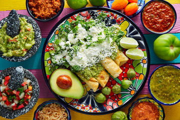 Green enchiladas Mexican food with guacamole Wall mural
