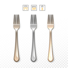 Cutlery Fork realistic. Fork, isolated on white. Set realistic forks. Fork to create a design. Gold and bronze , silver forks. Bright set of forks. Cutlery items realistic. Cutlery object realistic