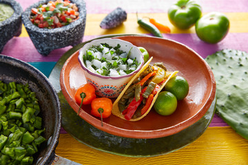 Nopal taco mexican food with chili pepper