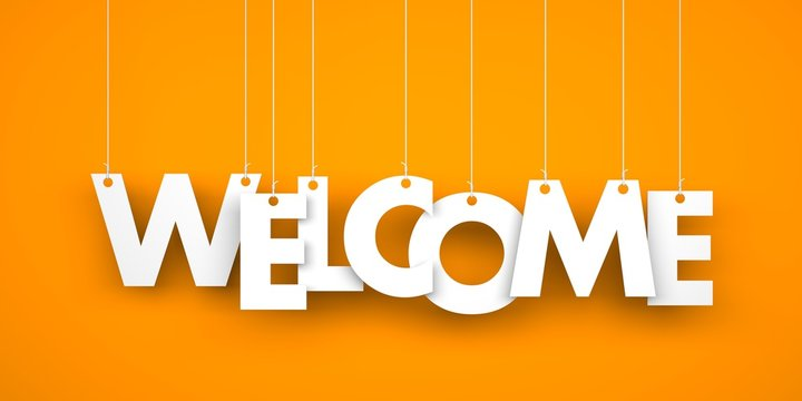 Word WELCOME hanging on the ropes