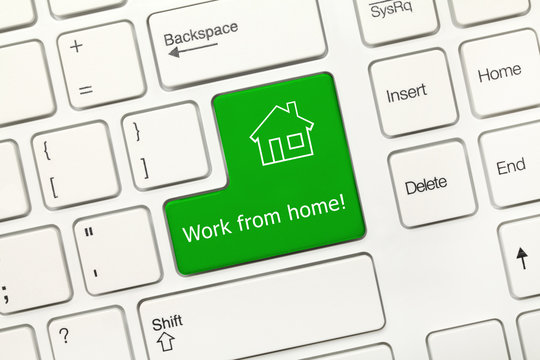 White conceptual keyboard - Work from home (green key)