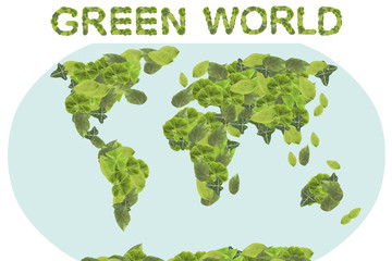 Green world concept. Earth Day. Concept ecology. World globe with the continents of natural leaves.