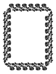 Vintage vertical floral frame with roses silhouette. Black and white vector design element for advertisements, flyer, web, wedding and other invitations or greeting cards.