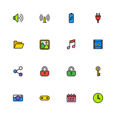 colorful line simple web icon set for web design, user interface (UI), infographic and mobile application (apps)