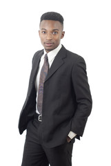 businessman on white background, suit and tie guy