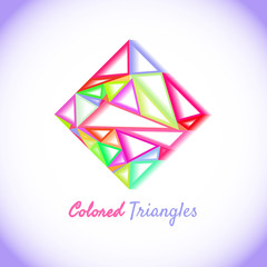 Creative modern logotype design for various business concepts made with triangles blending.