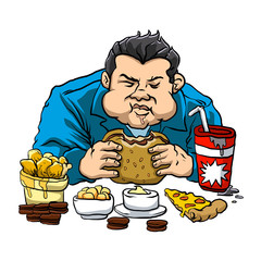 A fat man with the fast food.
