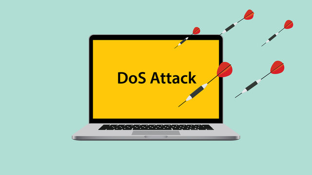 ddos dos denial of service attack with laptop attacked