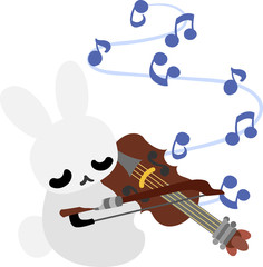 A pretty little rabbit and a violin