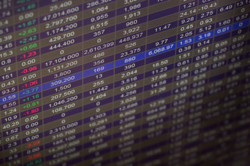 Financial data on a monitor,Stock market data on LED display con