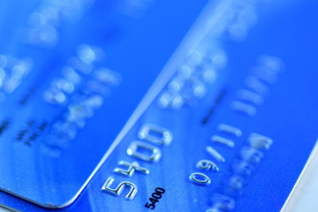 Close up Credit card from different banks with chip