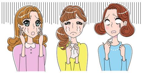 絶望する女性たちのイラスト
