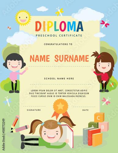 preschool elementary school kids diploma certificate template full