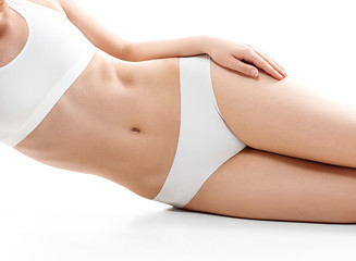 health and beauty concept - beautiful woman in white cotton underwear