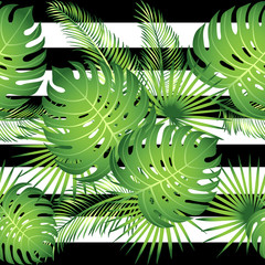 Seamless pattern tropical palm leaves. Vector illustration