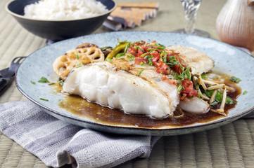 Hailbutt Filet mit Thai Gemüse
