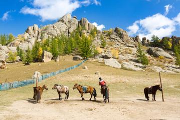 Cavalier chevauchant sa monture en Mongolie