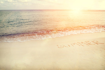 Vintage tropical beach in summer - sunset time