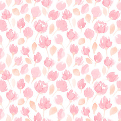 cute watercolor flowers seamless vector pattern. floral pattern for your design