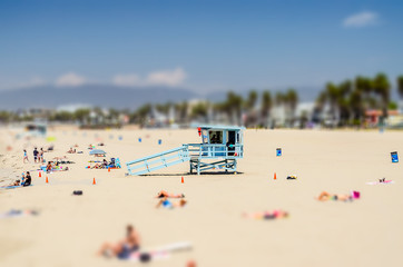 Sunny day in Venice Beach, California. Tilt-shift effect applied