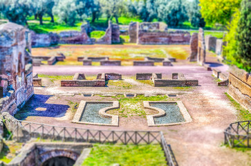 Fotomurales - Ruins at Villa Adriana Tivoli, Italy. Tilt-shift effect applied