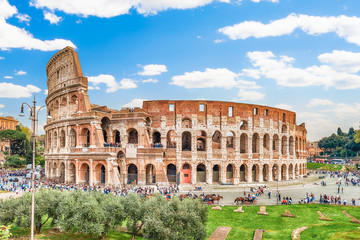 Wall Mural - View over the Flavian Amphitheatre, aka Colosseum in Rome, Italy