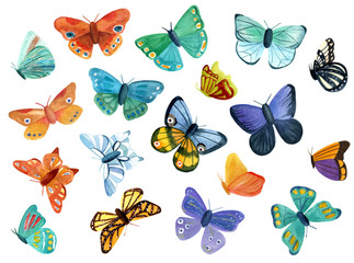 Collection of watercolor butterflies of various forms and colours