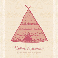 Vector Indian Wigwam Tribal Background