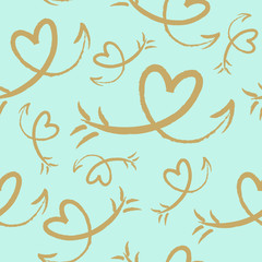 Hand drawn heart with arrow seamless pattern. Vector illustration