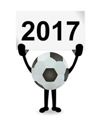 mascot soccer ball holding sign with year 2017