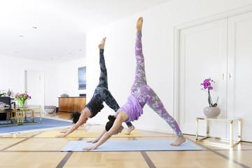 yoga at home down dog split pose