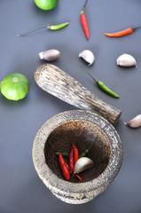 Mortar with Chili Lime and Garlic