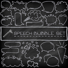 Hand drawn speech bubbles with hearts and clouds, chalkboard eff