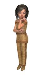 3D Illustration Little Indian Girl on White