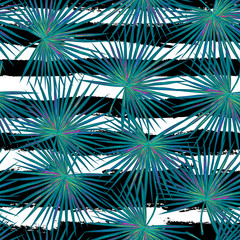 Fototapeta Seamless vector tropical fashion pattern with blue palm leaves. Fabric texture. Vector background. Perfect for wallpapers, pattern fills, web page backgrounds, surface textures, textile