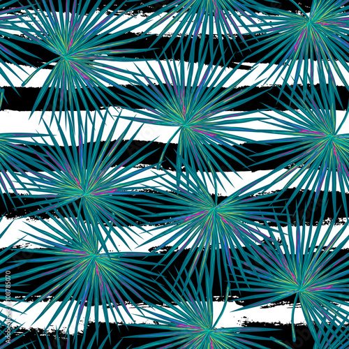 Vector: Seamless vector tropical fashion pattern with blue palm leaves ...