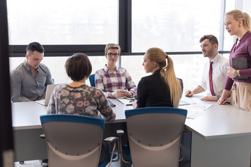 young business people group on meeting at modern office