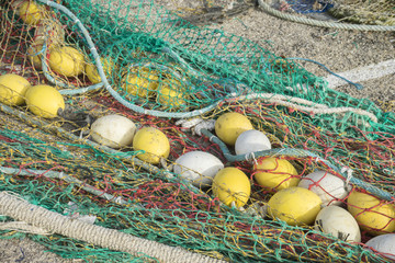 Boat, rigs and fishing nets with a port in Mallorca, Spain. Deta