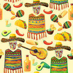 Mexican food seamless music pattern with skull, sombrero hat, mustache, guitar, maracas, guitar, poncho, taco, tequila, lime, fajitas, nachos, avocado and chill pepper vector background