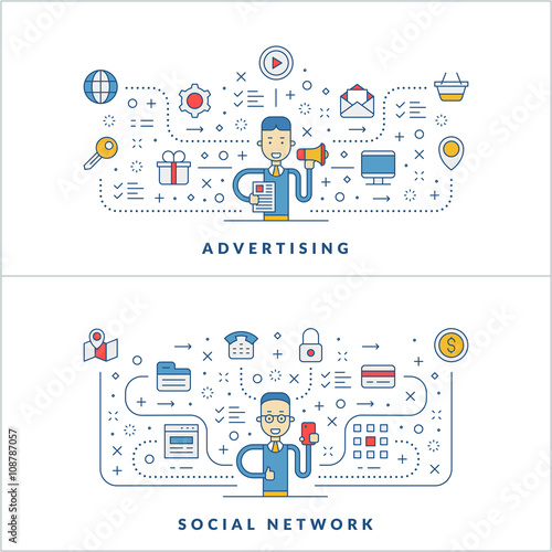 Graphic design. Web design. Social media. Flat line icons and ...