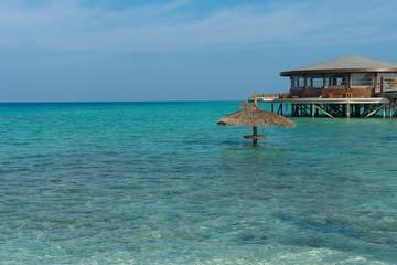 the restaurant over water, Maldives landscape