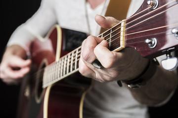 musician play guitar on studio