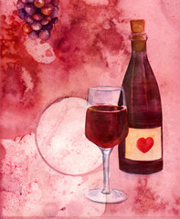 Wine collage with watercolor drawings of wine bottle and glass