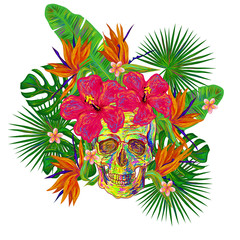 Skull and tropical exotic flowers and palm leaves. Paradise holidays. Vector illustration