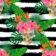 Seamless summer tropical pattern with skulls, palm leaves and hibiscus flowers vector background. Perfect for wallpapers, pattern fills, web page backgrounds, surface textures, textile
